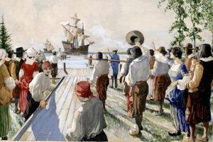 Arrivée des bateaux de France